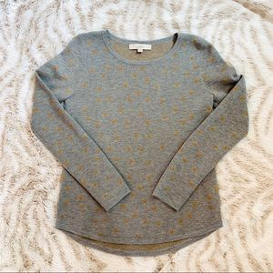 Loft Gray with Gold Dots shirt top XS